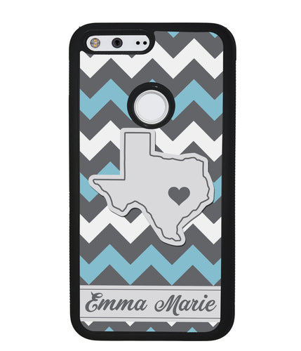 Blue White Gray State Chevron Personalized | Google Phone Case