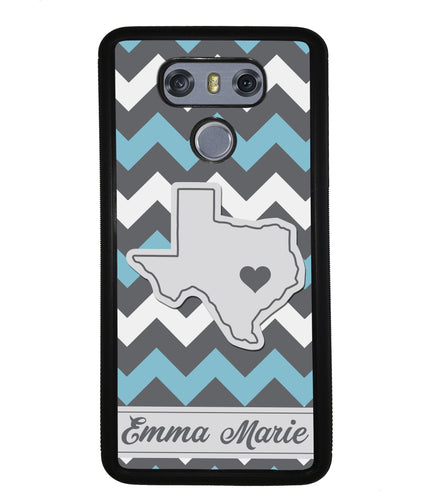 Blue White Gray State Chevron Personalized | LG Phone Case