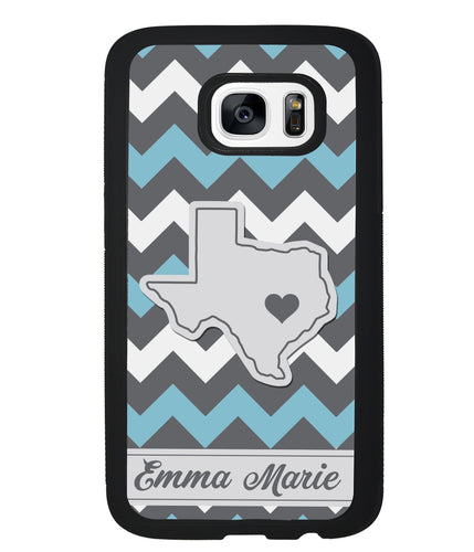 Blue White Gray State Chevron Personalized | Samsung Case