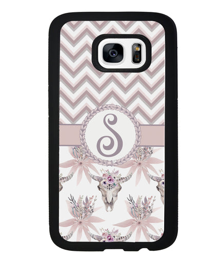 Chevron Vintage Skull Initial | Samsung Phone Case