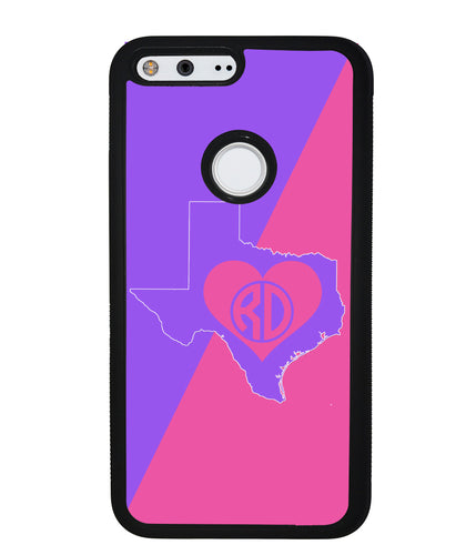Choose Your State Love Circle Monogram | Google Phone Case