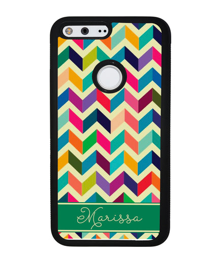 Colored Chevron Personalized | Google Phone Case