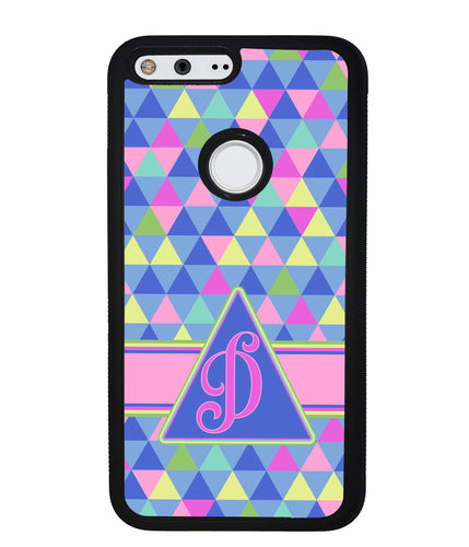 Colorful Neon Color Triangle Initial | Google Phone Case