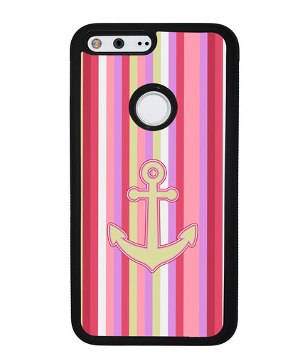 Colorful Pin Stripe Nautical Anchor | Google Phone Case