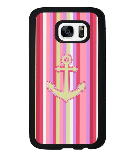 Colorful Pin Stripe Nautical Anchor | Samsung Phone Case