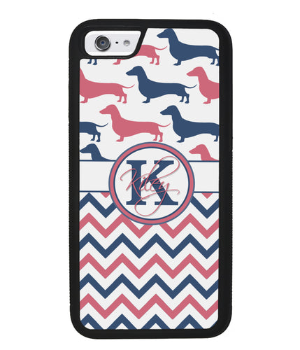 Dachshund Pink and Blue Chevron Personalized | Apple iPhone Case