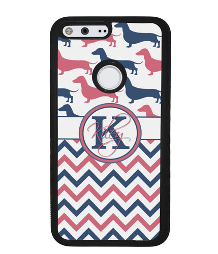Dachshund Pink and Blue Chevron Personalized | Google Phone Case
