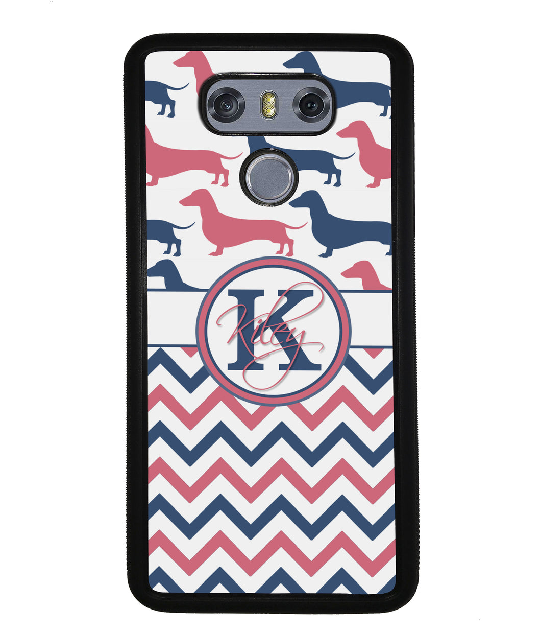 Dachshund Pink and Blue Chevron Personalized | LG Phone Case