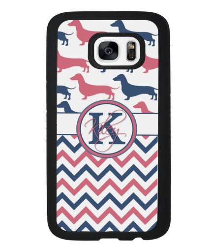 Dachshund Pink and Blue Chevron Personalized | Samsung Phone Case