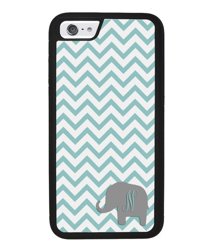 Teal Blue Elephant Chevron Initial | Apple iPhone Case