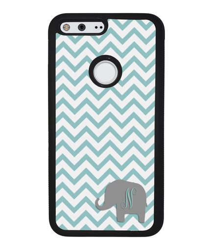 Teal Blue Elephant Chevron Initial | Google Phone Case