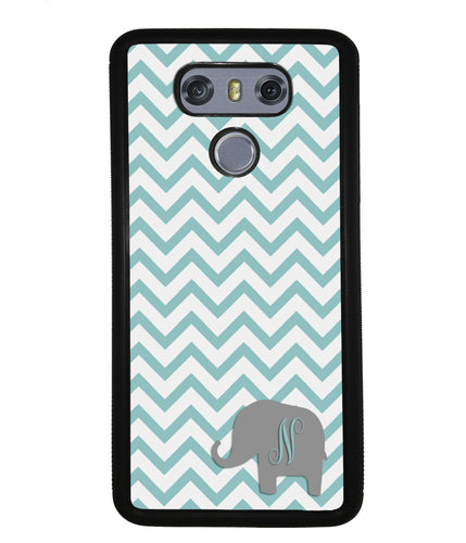 Teal Blue Elephant Chevron Initial | LG Phone Case
