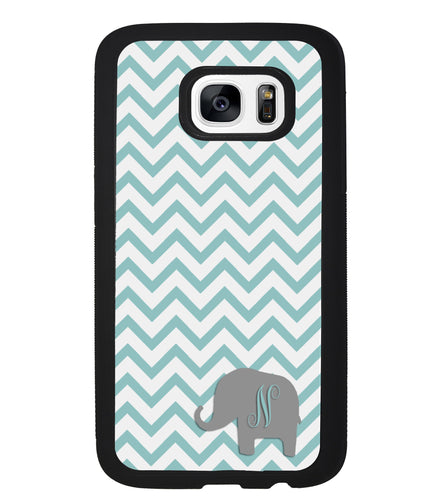 Teal Blue Elephant Chevron Initial | Samsung Phone Case