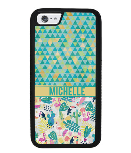 Flamingo TwoCan Triangle Personalized | Apple iPhone Case
