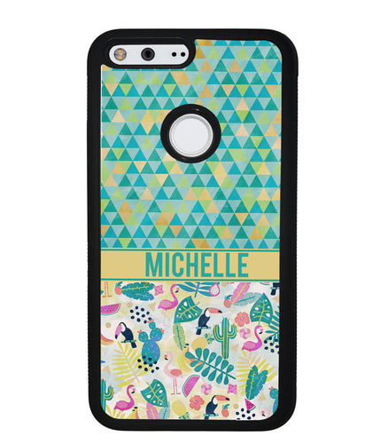 Flamingo Toucan Triangle Personalized | Google Phone Case