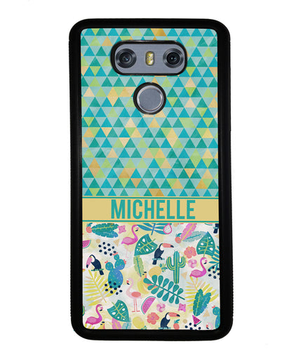 Flamingo Toucan Triangle Personalized | LG Phone Case