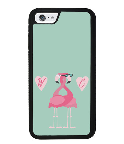Flamingos In Love Double Initial | Apple iPhone Case