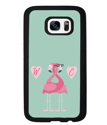 Flamingos In Love Double Initial | Samsung Phone Case