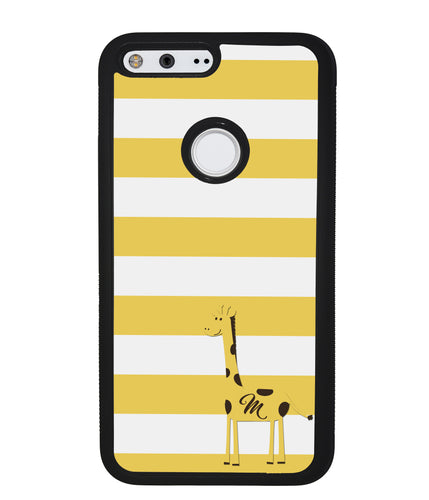 Giraffe Yellow Bars Initial | Google Phone Case