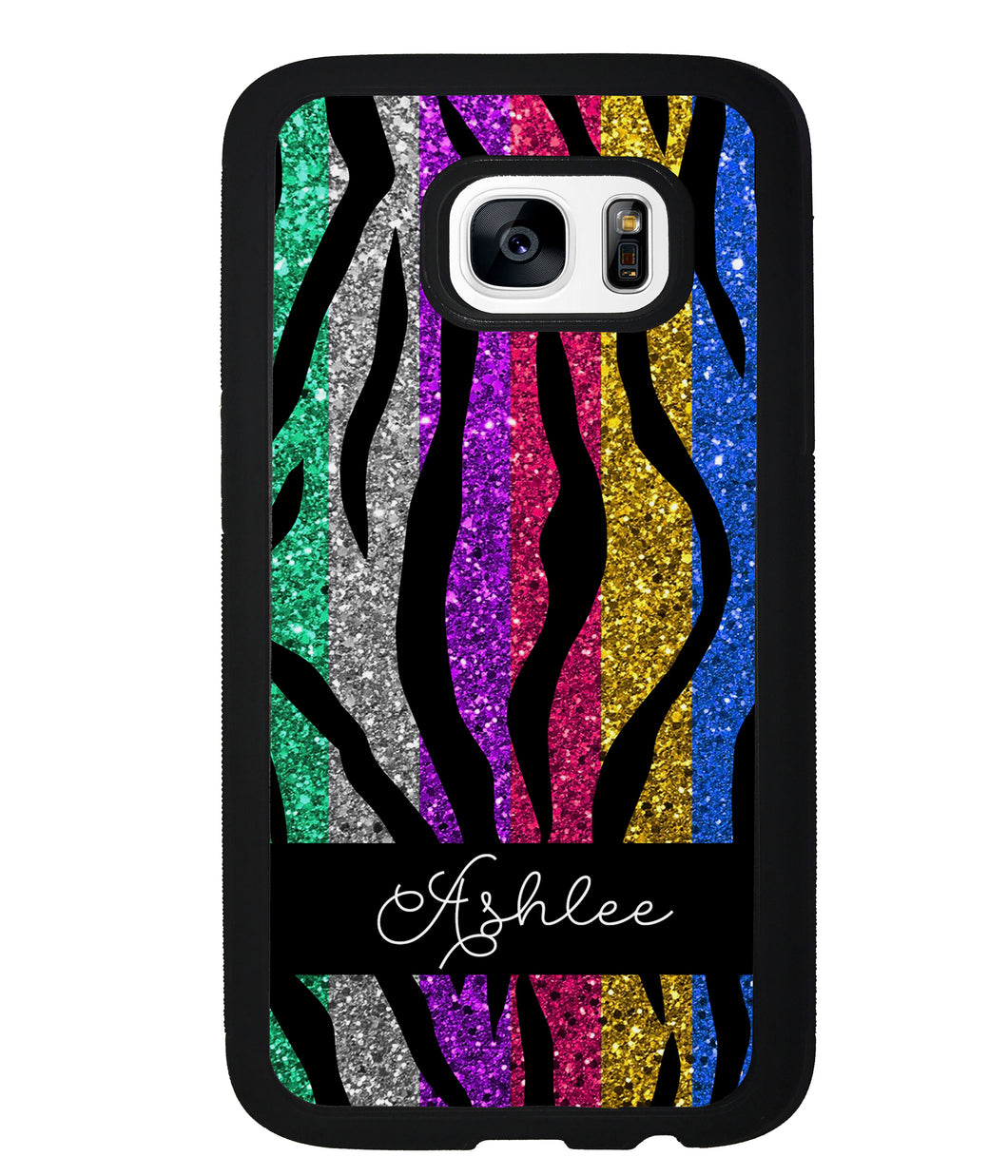 Glittery Colorful Tiger Stripe Personalized | Samsung Phone Case