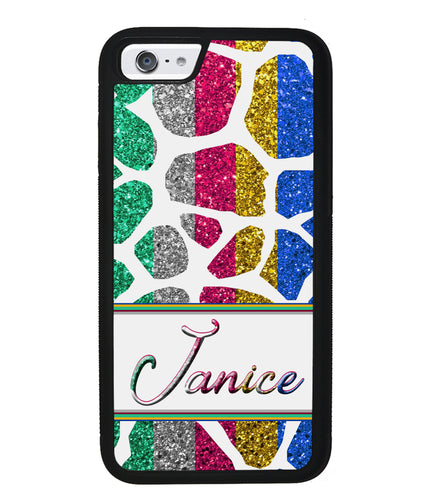 Glittery Zebra Animal Skin Personalized | Apple iPhone Case