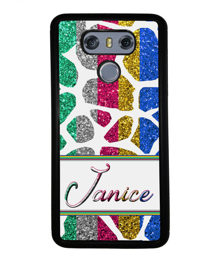 Glittery Zebra Animal Skin Personalized | LG Phone Case