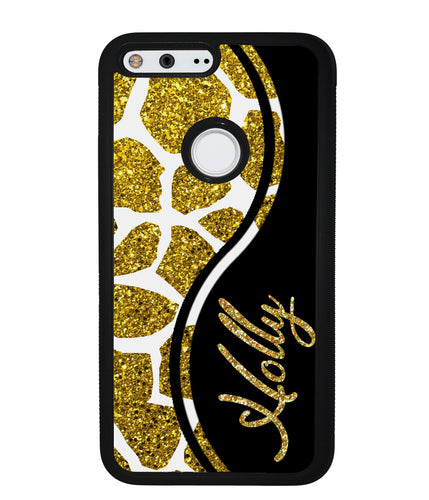 Gold Glitter Giraffe Curvy Personalized | Google Phone Case