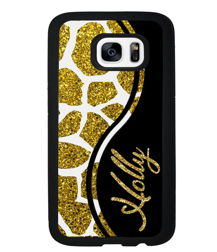 Gold Glitter Giraffe Curvy Personalized | Samsung Phone Case