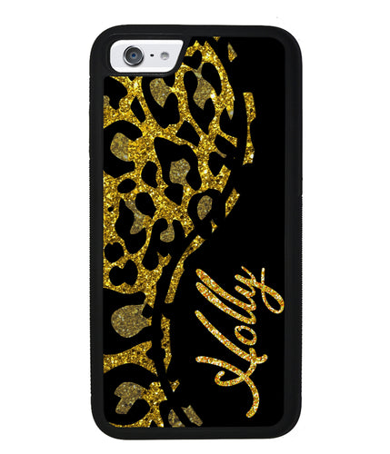 Gold Glitter Leopard Curvy Personalized | Apple iPhone Case