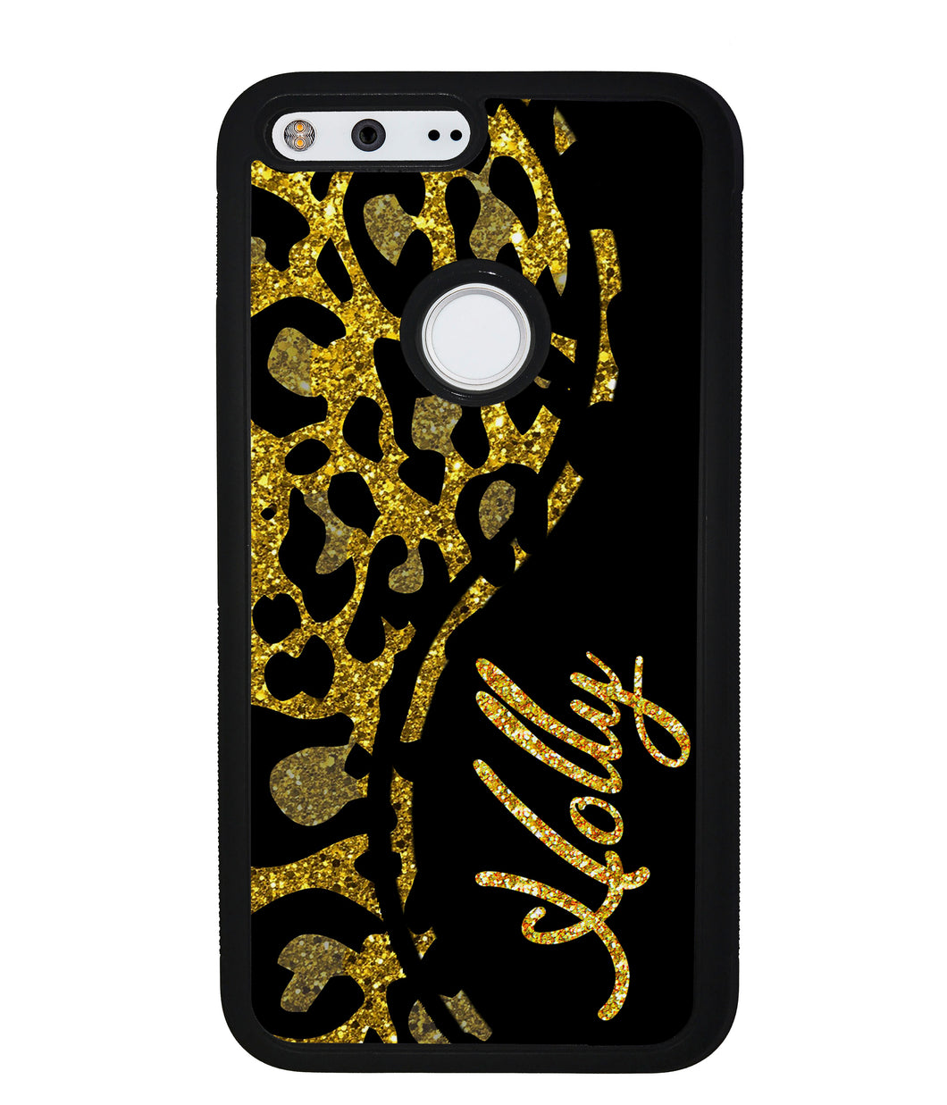 Gold Glitter Leopard Curvy Personalized | Google Phone Case
