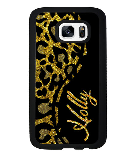 Gold Glitter Leopard Curvy Personalized | Samsung Phone Case
