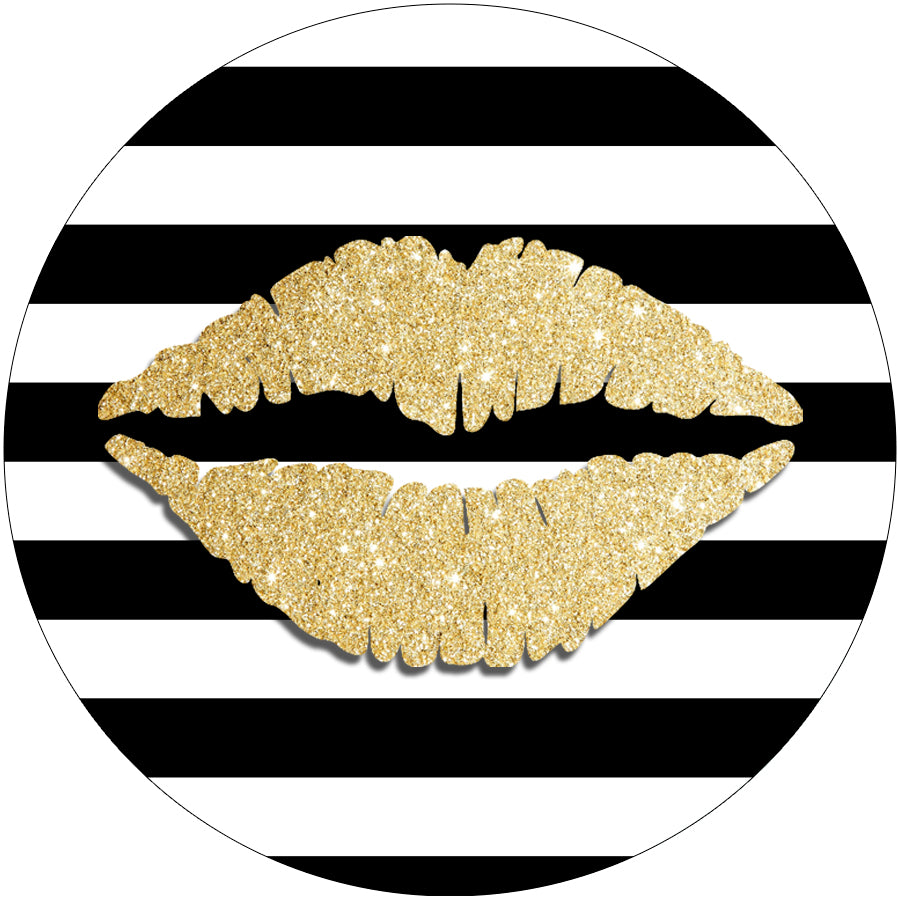 Gold Lips Black and White Bars Phone Stand