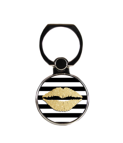 Gold Lips Black and White Stripes Phone Ring