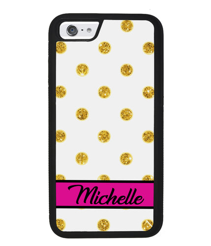 Golden Polka Dot Pink Personalized | Apple iPhone Case