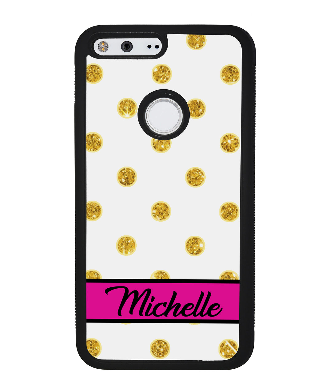 Golden Polka Dot Pink Personalized | Google Phone Case