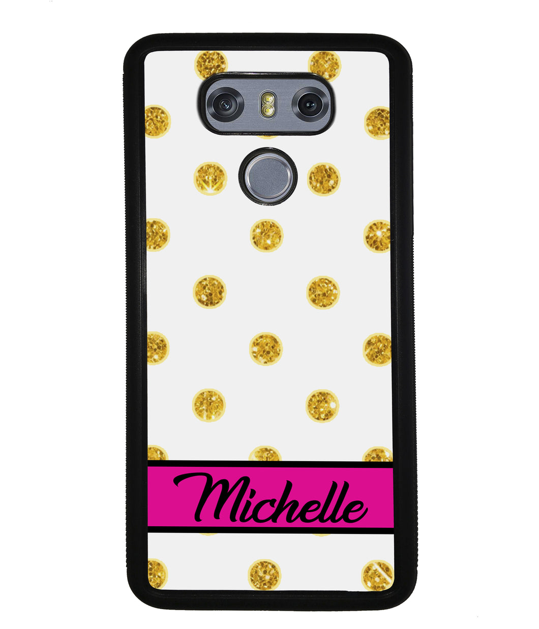 Golden Polka Dot Pink Personalized | LG Phone Case