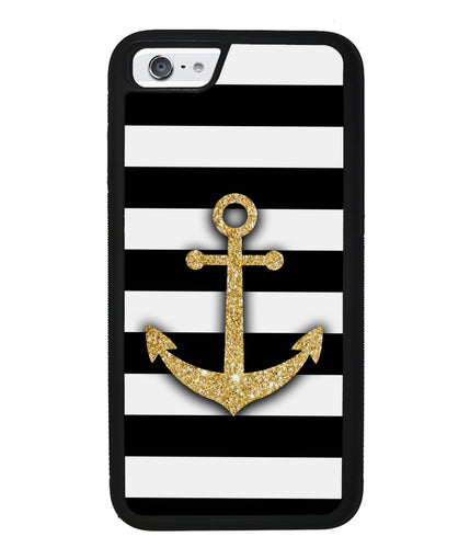 Golden Anchor Nautical Bars | Apple iPhone Case