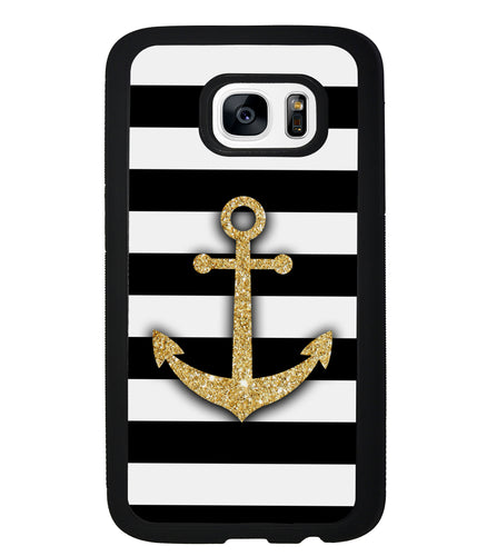 Golden Anchor Nautical Bars | Samsung Phone Case