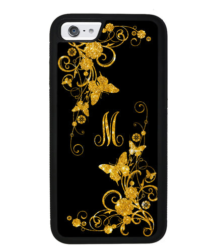 Golden Butterfly Vines Initial | Apple iPhone Case