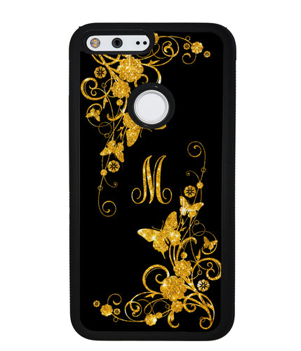 Golden Butterfly Vines Initial | Google Phone Case