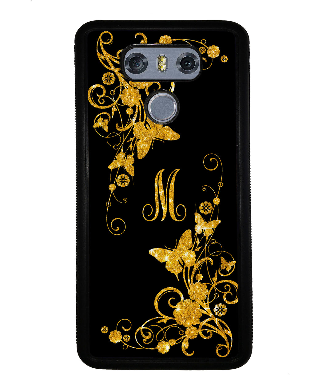 Golden Butterfly Vines Initial | LG Phone Case