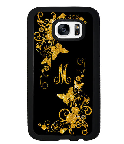 Golden Butterfly Vines Initial | Samsung Case