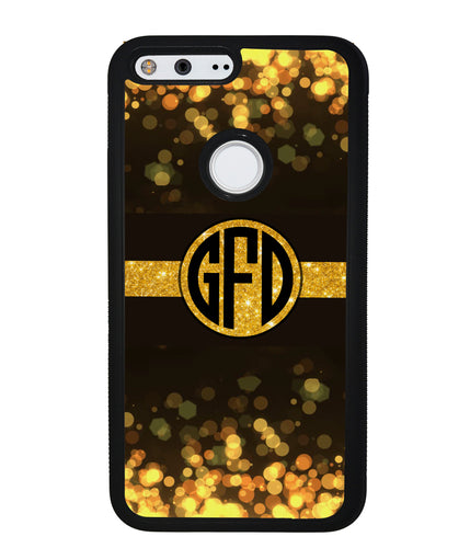 Golden Dots Circle Monogram | Google Phone Case