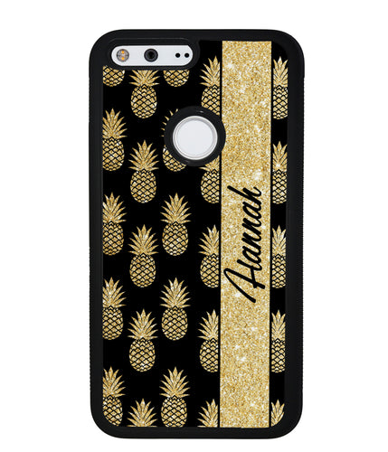 Golden Pineapples Personalized | Google Phone Case