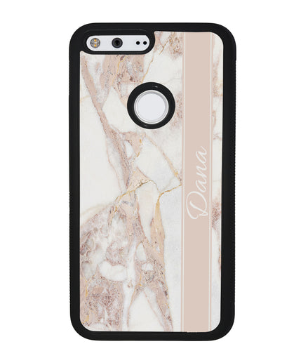 Golden Pink Marble Personalized | Google Phone Case