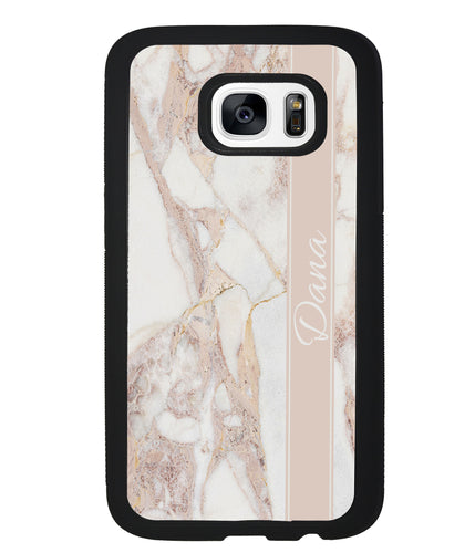 Golden Pink Marble Personalized | Samsung Phone Case