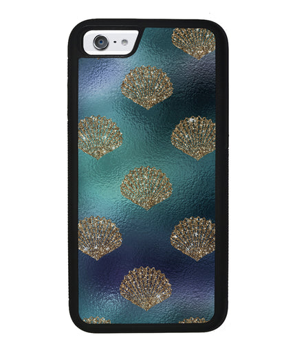 Golden Shells Teal Blue Foil  | Apple iPhone Case