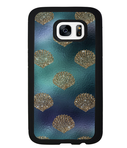 Golden Shells Teal Blue Foil | Samsung Phone Case