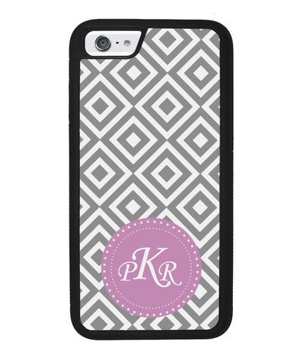 Grey Block Chevron Pink Monogram | Apple iPhone Case