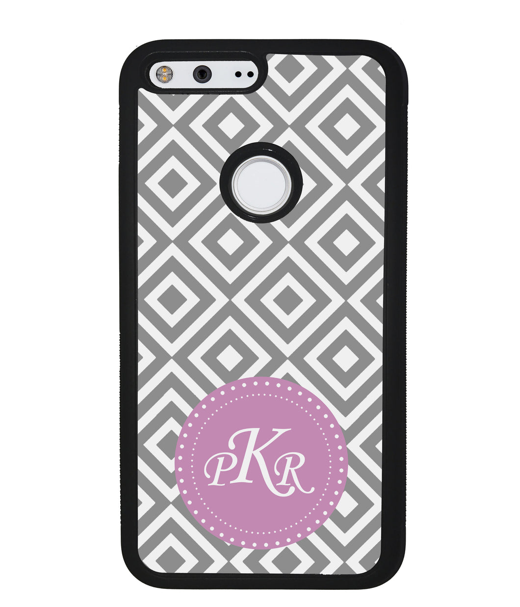 Grey Block Chevron Pink Monogram | Google Case